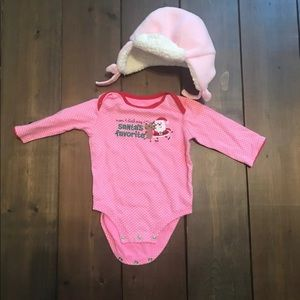 6 Month Christmas Onesie and Hat set